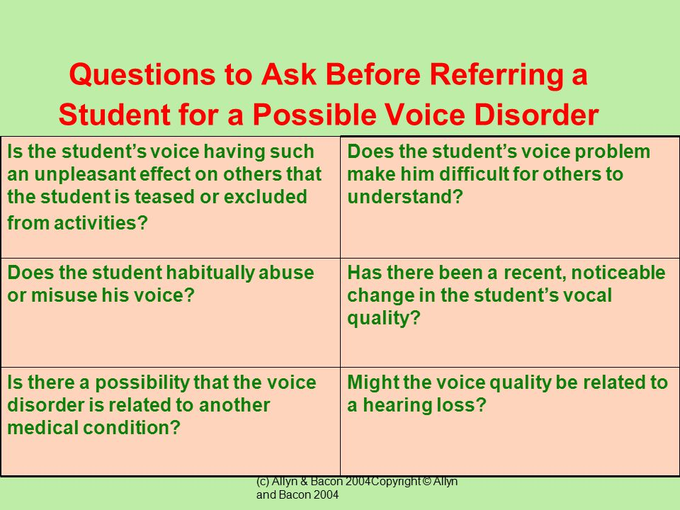 Questions to Ask Before Referring a Student for a Possible Voice Disorder