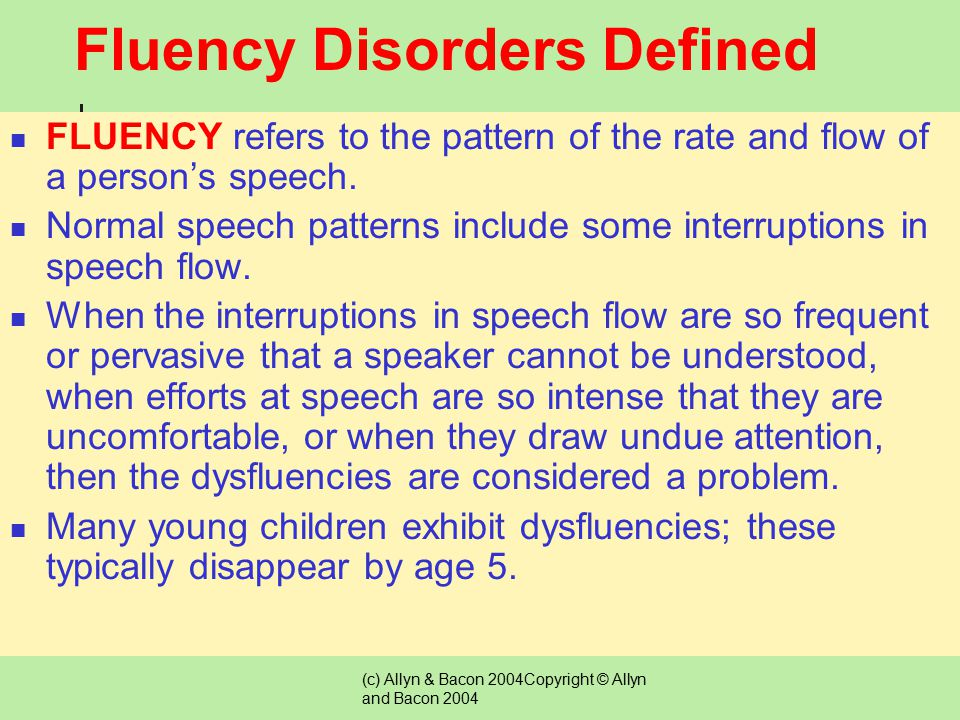 fluency disorders Free essay: introduction childhood-onset fluency disorder, commonly referred to as stuttering, is classified as a disruption in an individual's ability to.