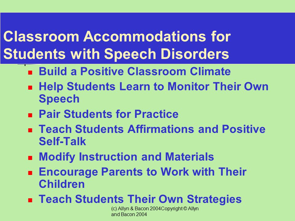 Classroom Accommodations for Students with Speech Disorders