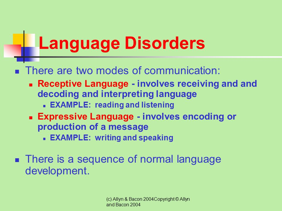 Language Disorders There are two modes of communication: