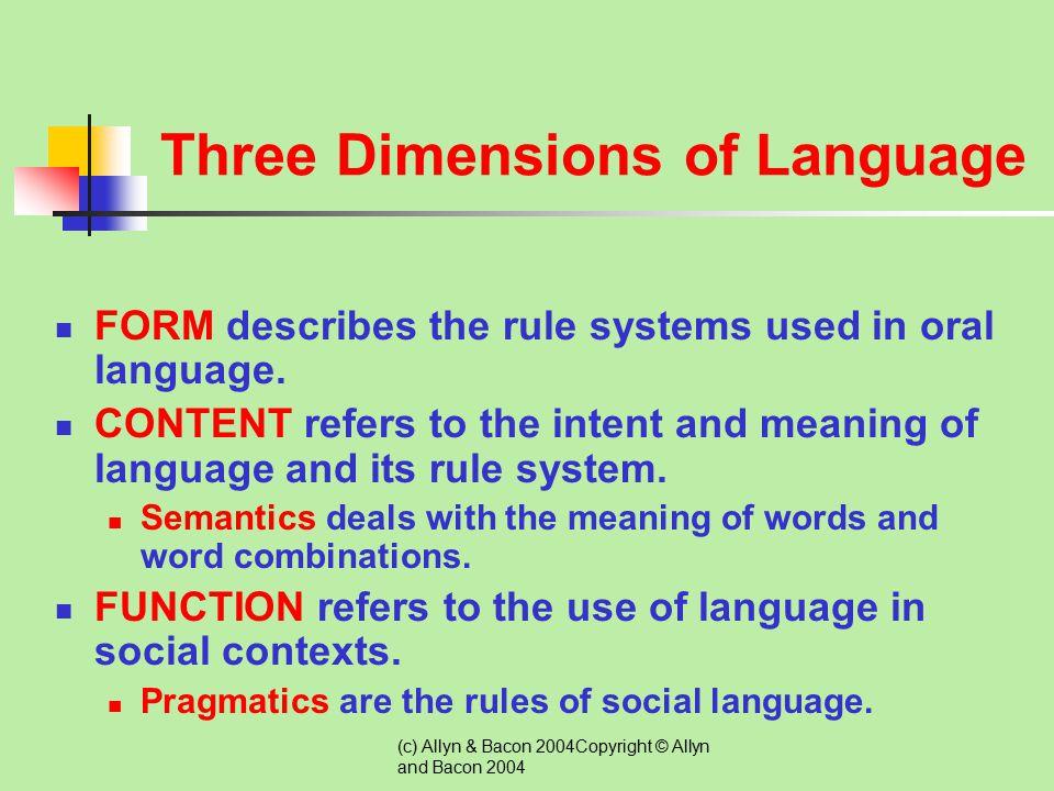 Three Dimensions of Language