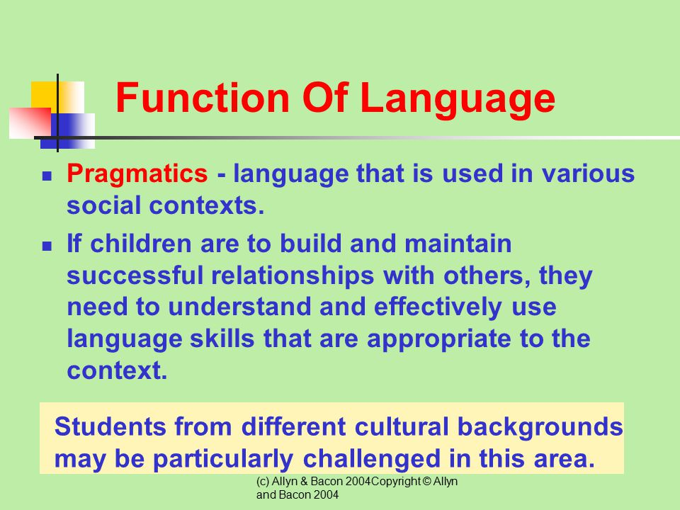 Function Of Language Pragmatics - language that is used in various social contexts.