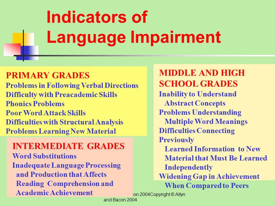 Indicators of Language Impairment