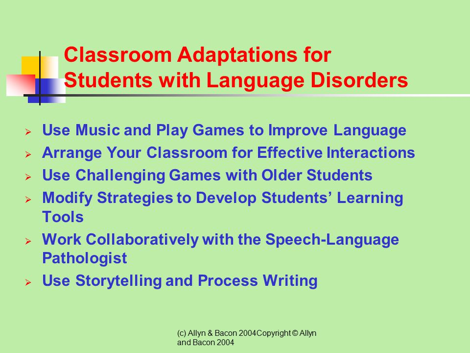Classroom Adaptations for Students with Language Disorders