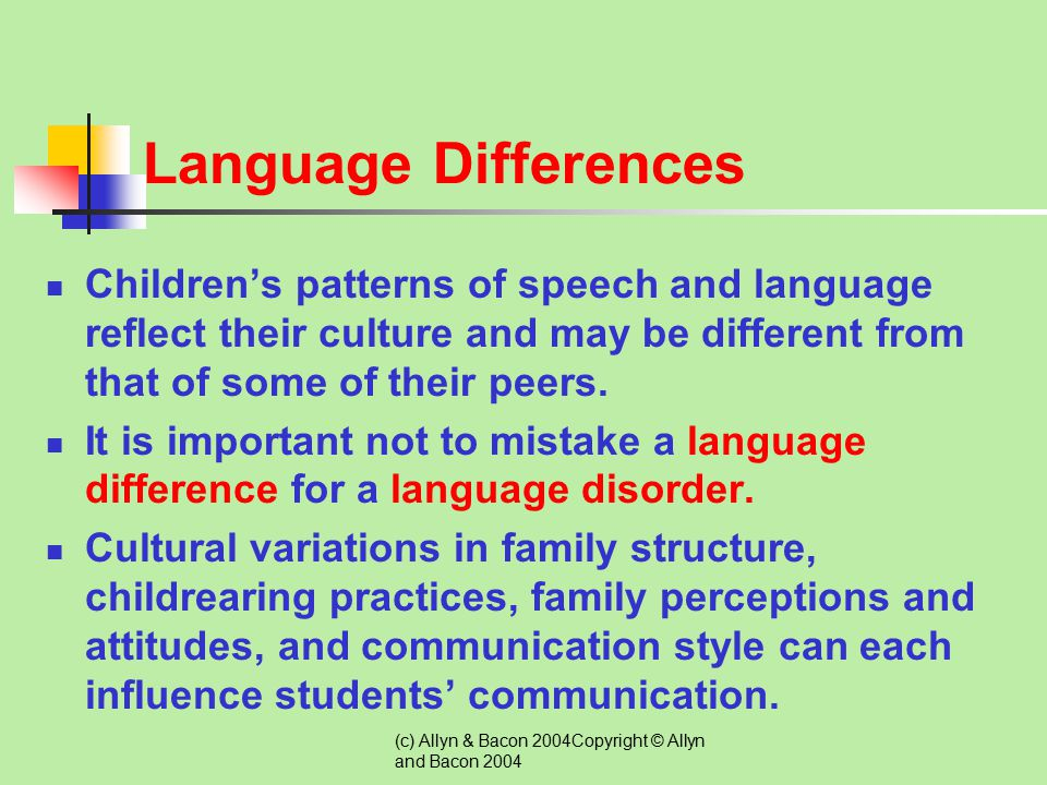 Language Differences Children's patterns of speech and language reflect their culture and may be different from that of some of their peers.