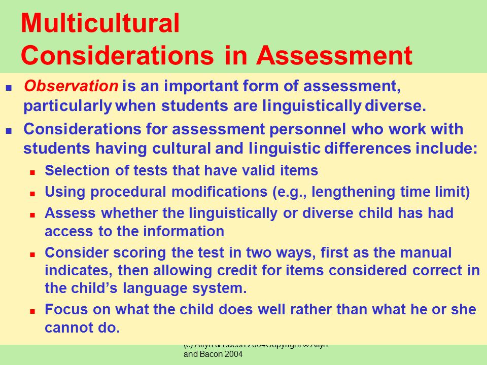 Multicultural Considerations in Assessment