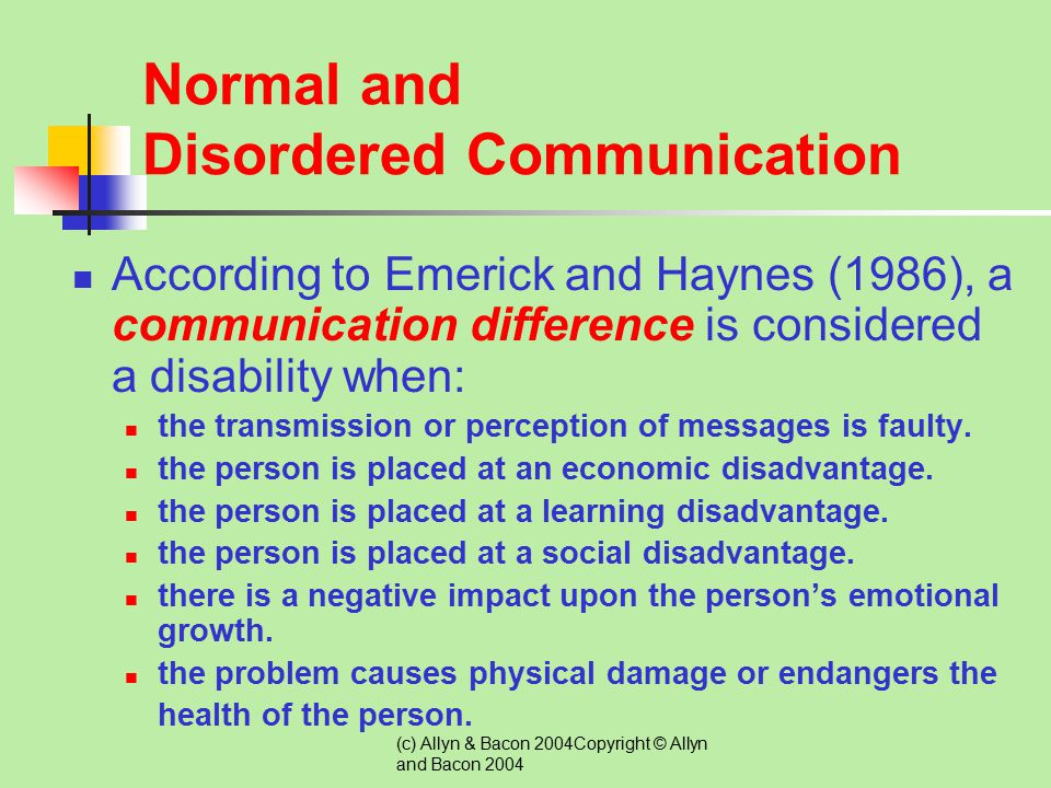 Normal and Disordered Communication