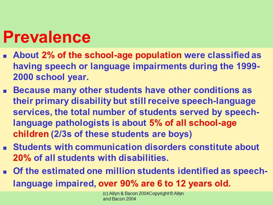 Prevalence About 2% of the school-age population were classified as having speech or language impairments during the 1999-2000 school year.
