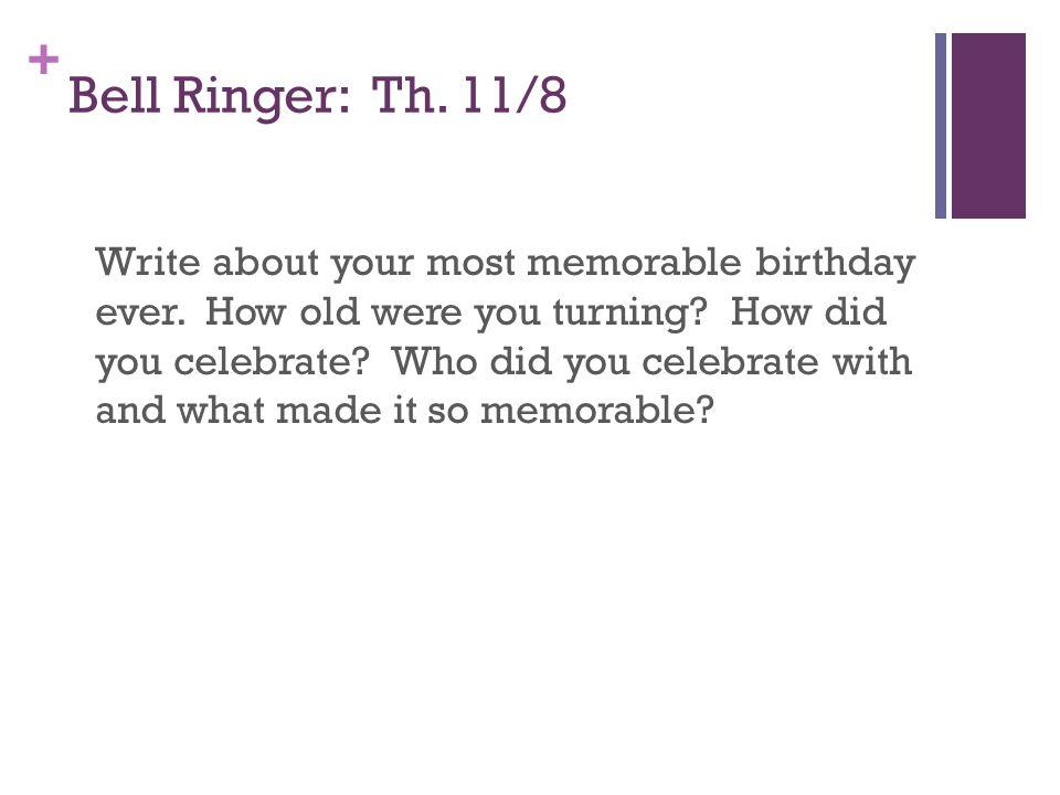 Bell Ringer: Th. 11/8