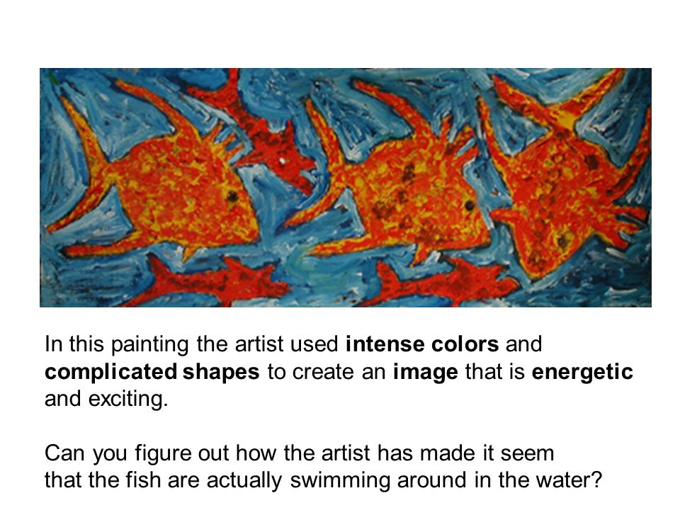 In this painting the artist used intense colors and complicated shapes to create an image that is energetic