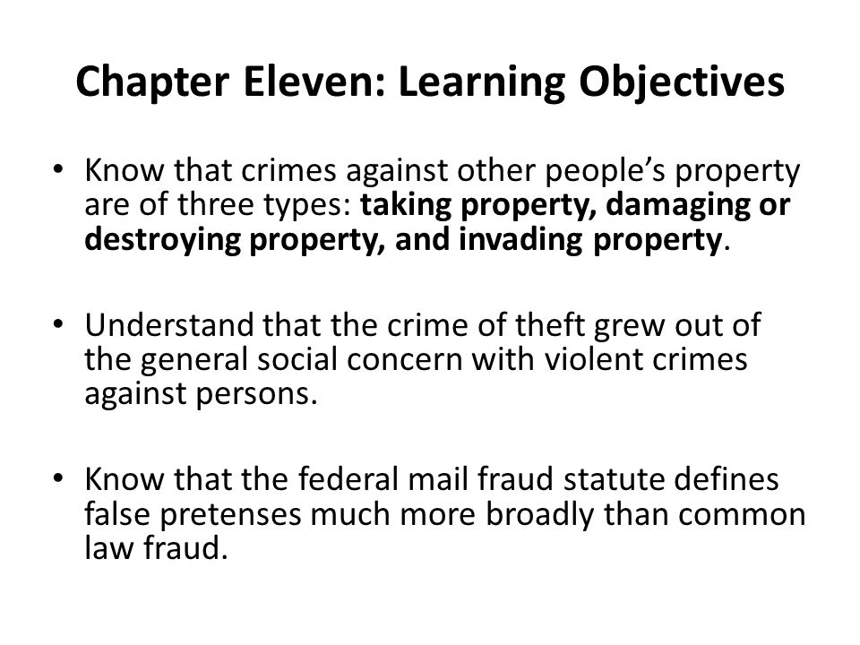 Chapter Eleven: Learning Objectives