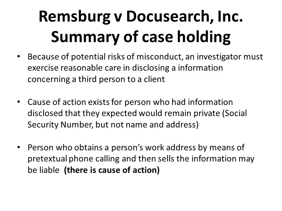 Remsburg v Docusearch, Inc. Summary of case holding