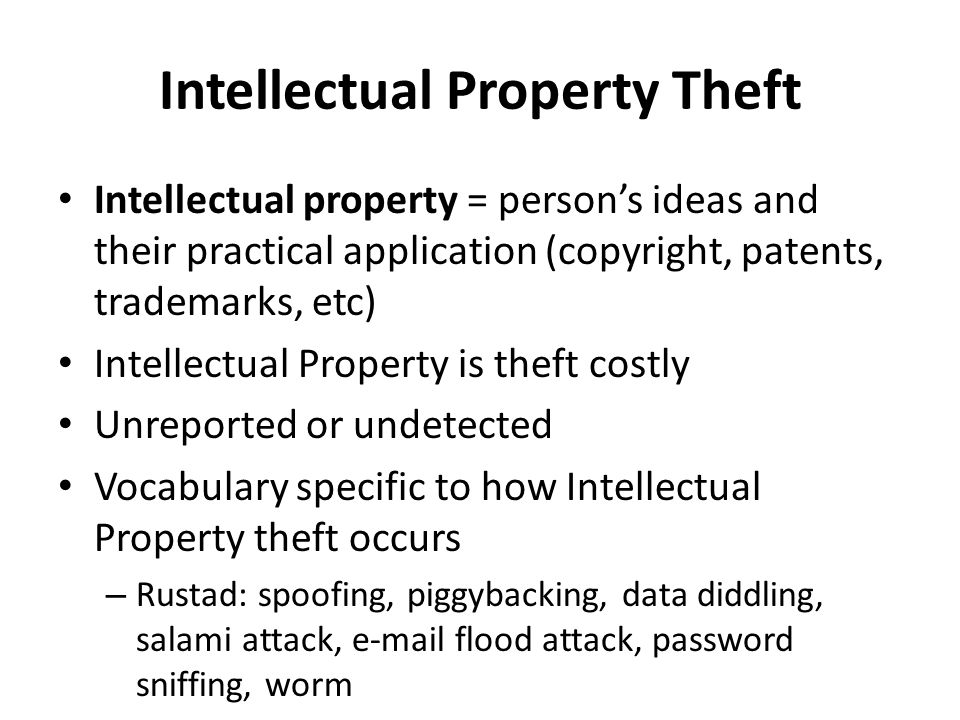 the theft of intellectual property In a major slap at china, president trump on monday ordered an investigation into chinese theft of american intellectual property.