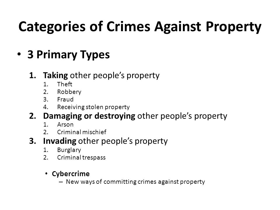 Categories of Crimes Against Property