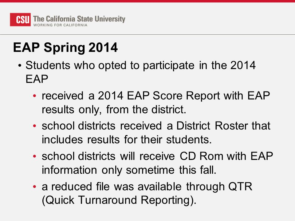 EAP Spring 2014 Students who opted to participate in the 2014 EAP