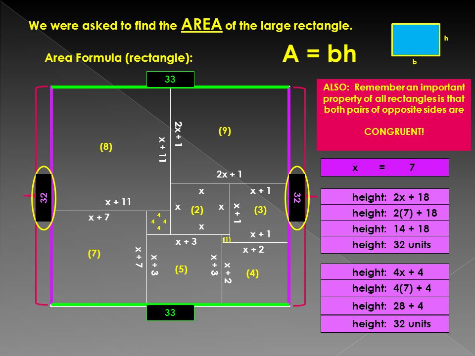 We were asked to find the AREA of the large rectangle.