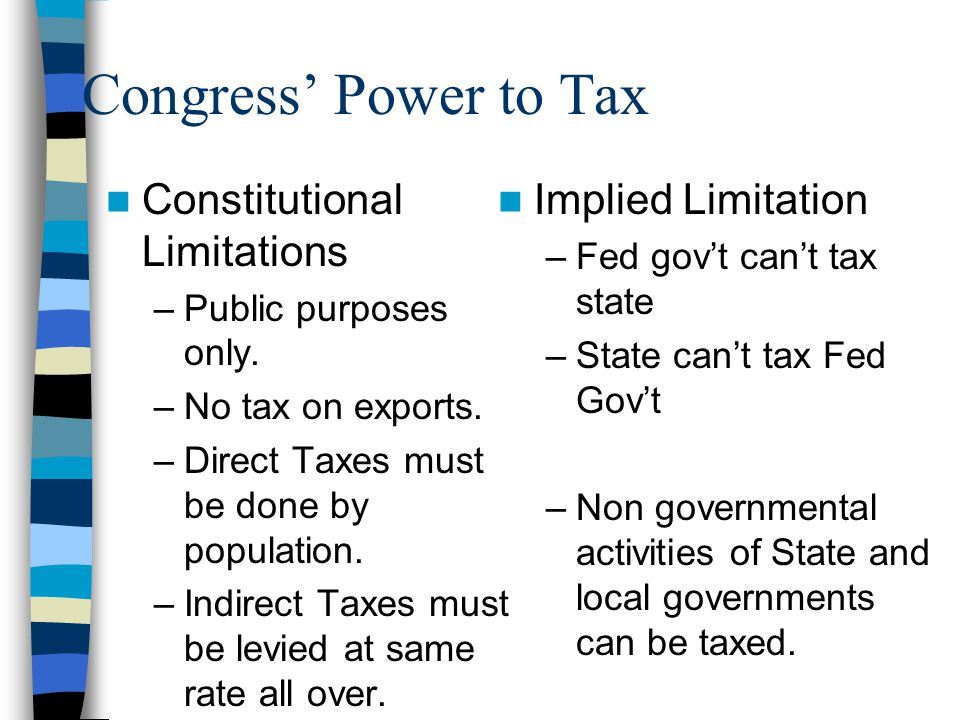 Congress' Power to Tax Constitutional Limitations Implied Limitation