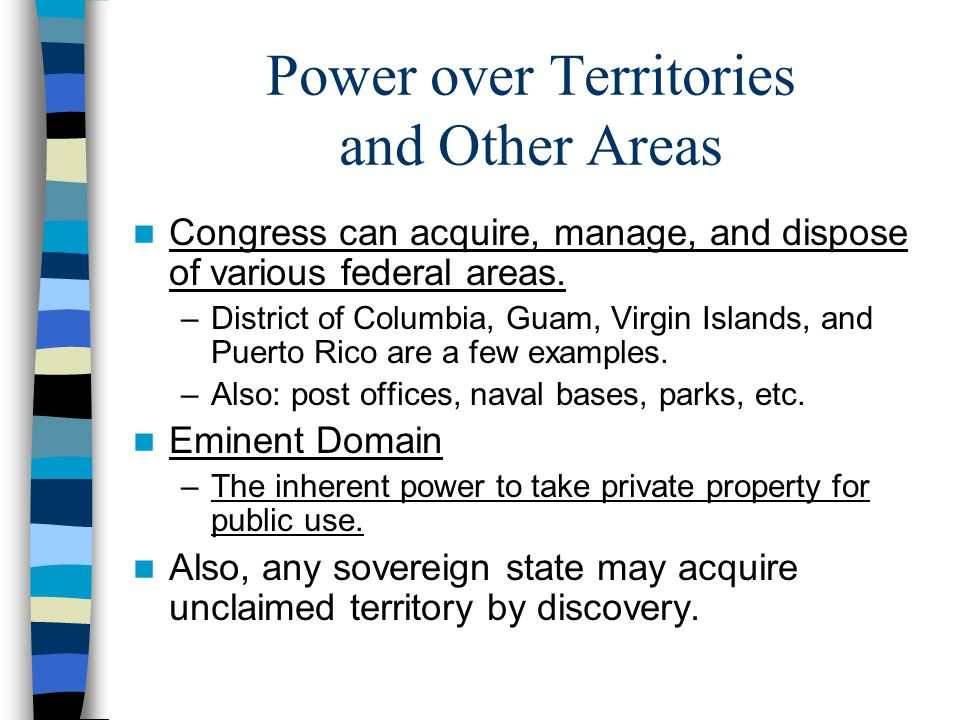 Power over Territories and Other Areas