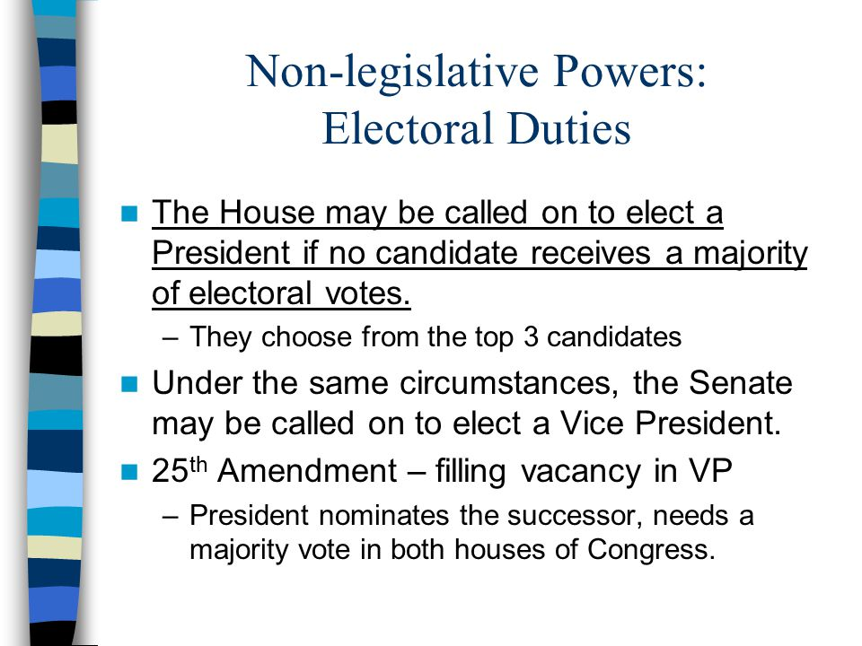 Non-legislative Powers: Electoral Duties