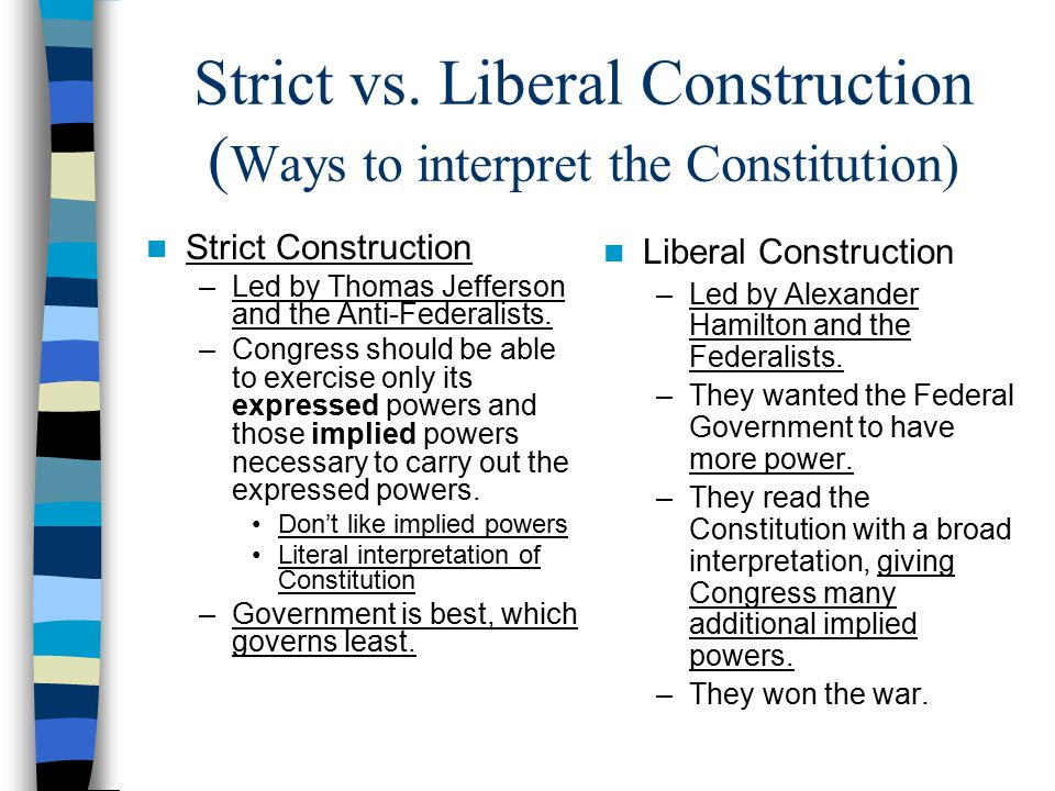 Strict vs. Liberal Construction (Ways to interpret the Constitution)