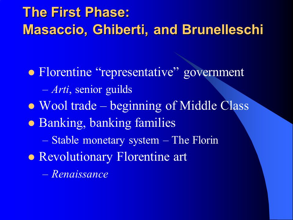 The First Phase: Masaccio, Ghiberti, and Brunelleschi
