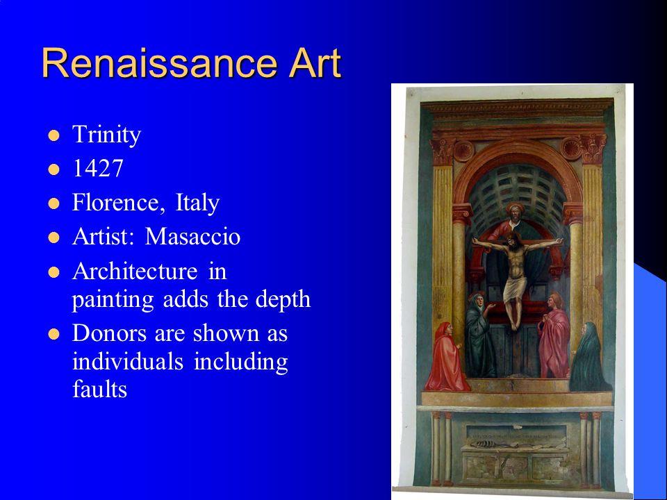 Renaissance Art Trinity 1427 Florence, Italy Artist: Masaccio