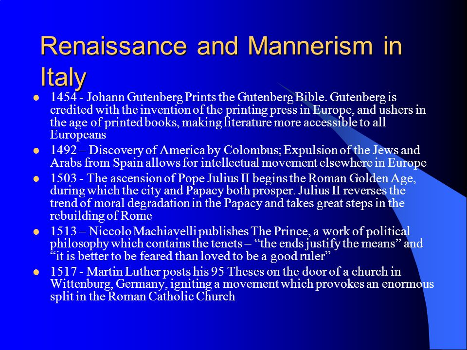 Renaissance and Mannerism in Italy