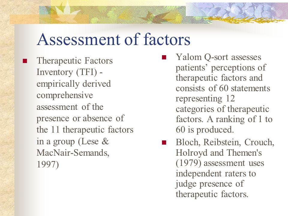Measurement of Therapeutic Factors