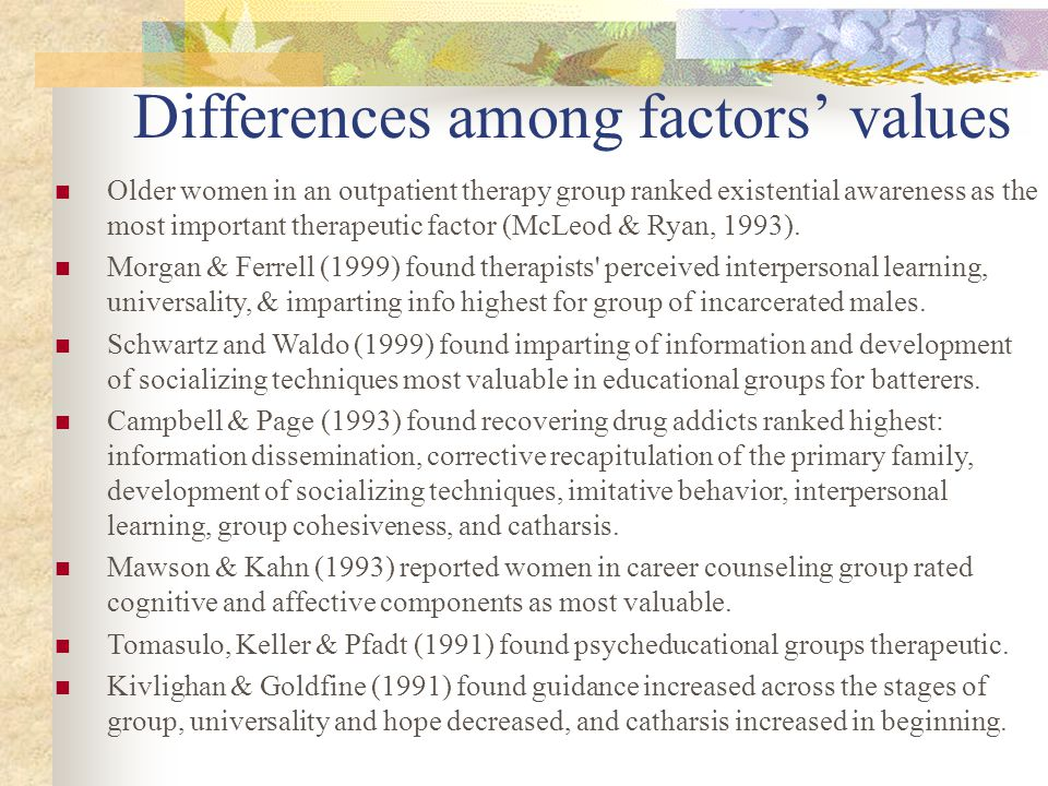 Differences among factors' values