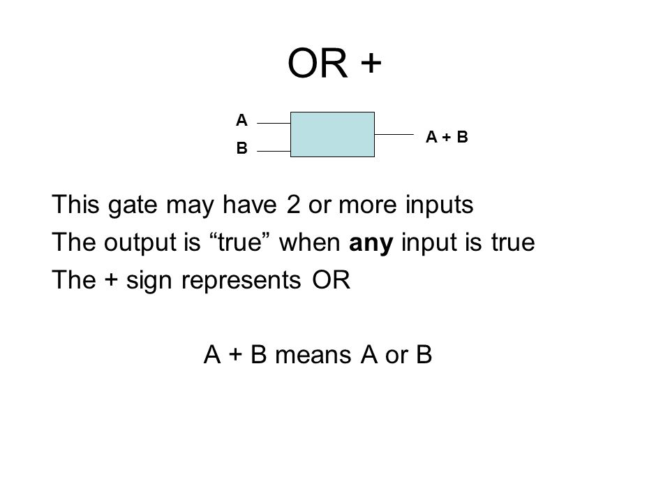 OR + This gate may have 2 or more inputs