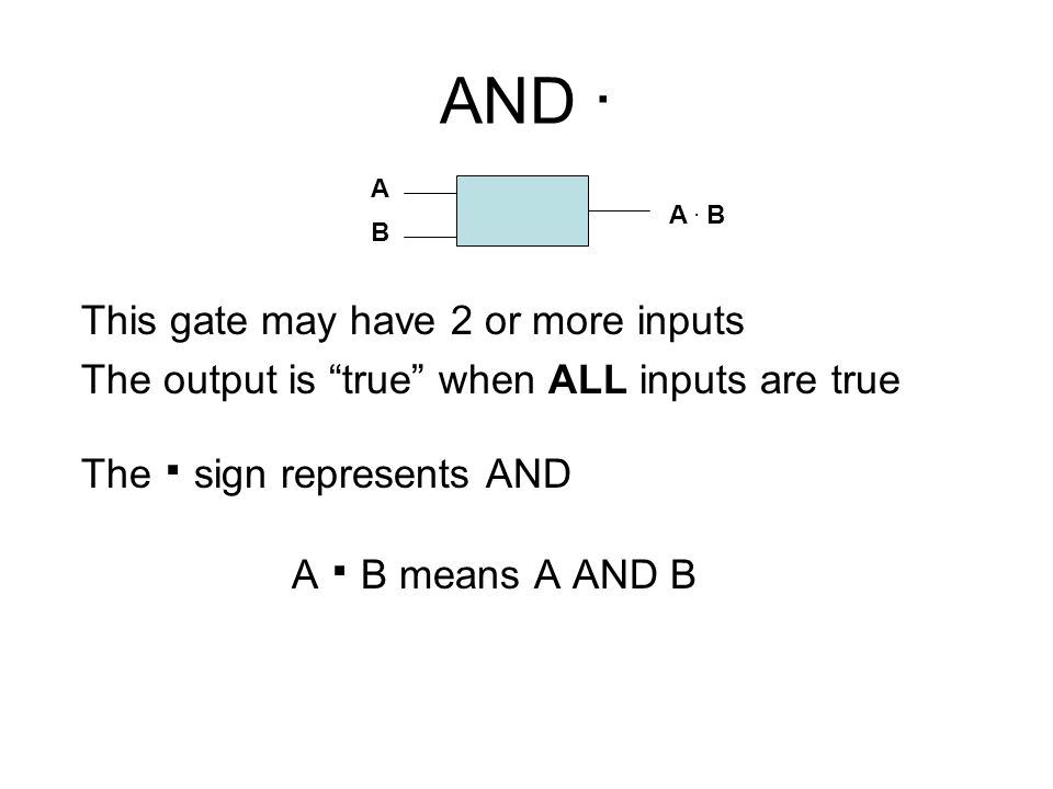 AND . This gate may have 2 or more inputs