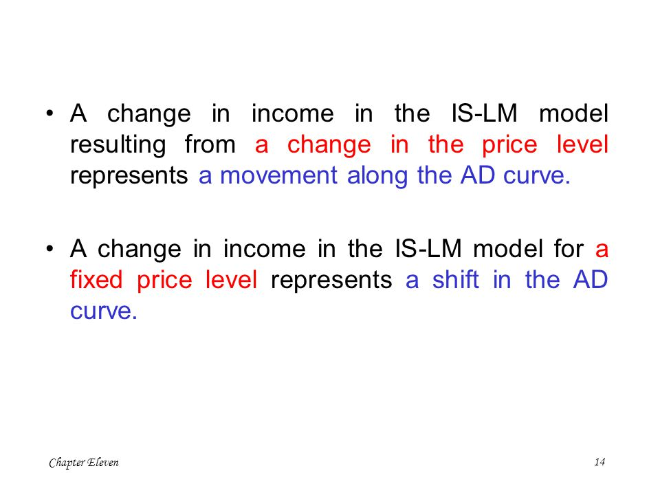A change in income in the IS-LM model resulting from a change in the price level represents a movement along the AD curve.