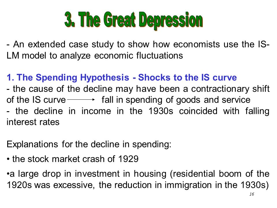 3. The Great Depression - An extended case study to show how economists use the IS-LM model to analyze economic fluctuations.