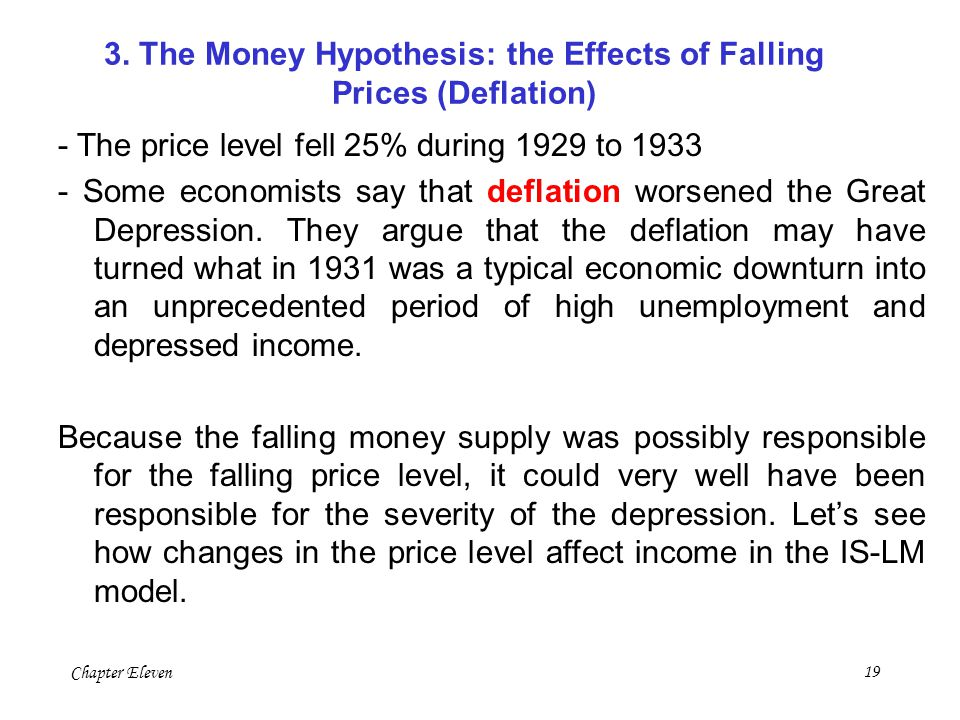3. The Money Hypothesis: the Effects of Falling Prices (Deflation)