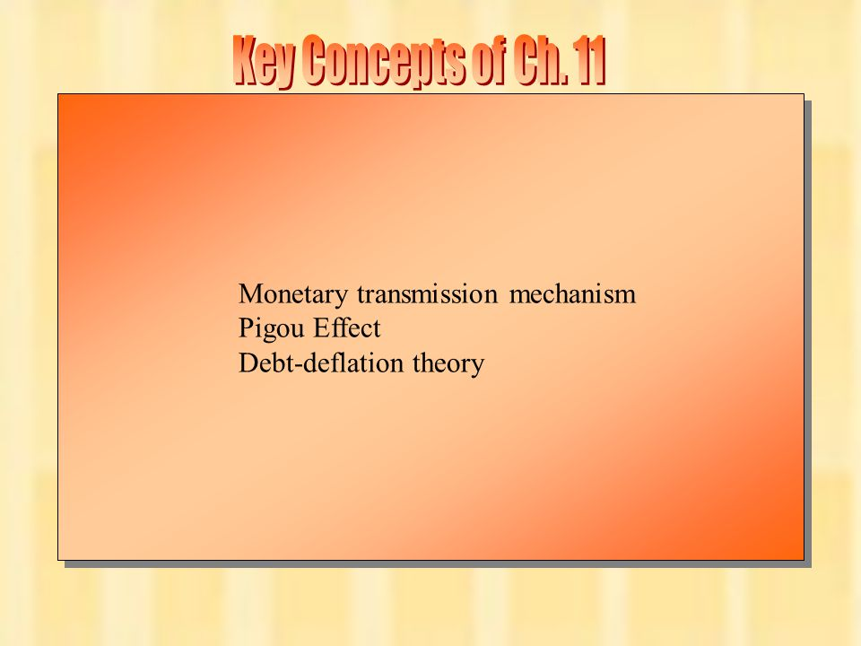 Key Concepts of Ch. 11 Monetary transmission mechanism Pigou Effect
