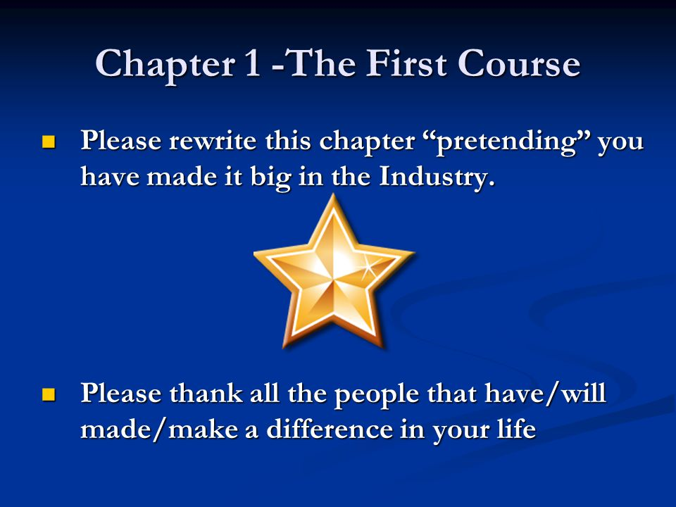 Chapter 1 -The First Course