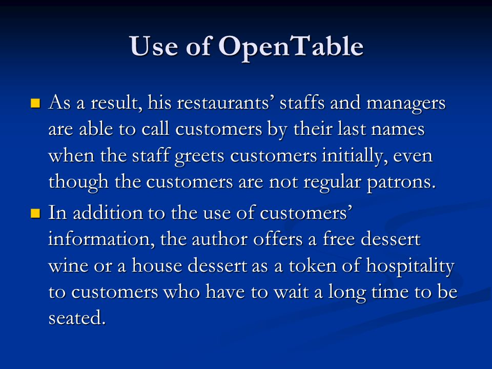 Use of OpenTable