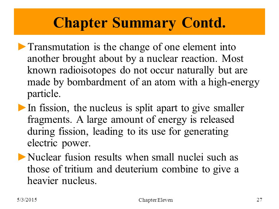 Chapter Summary Contd.