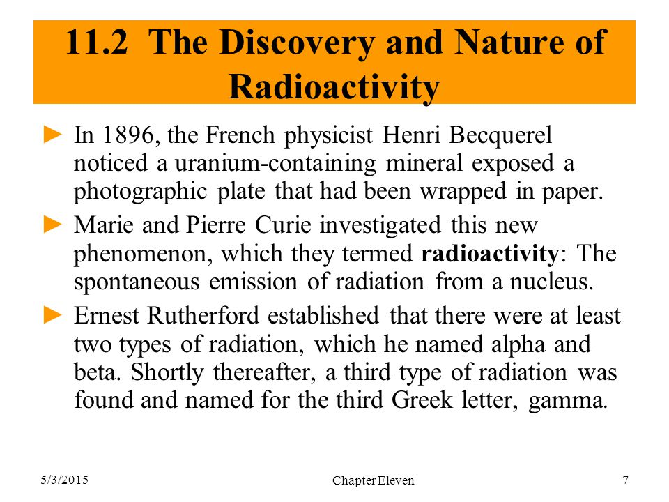 11.2 The Discovery and Nature of Radioactivity