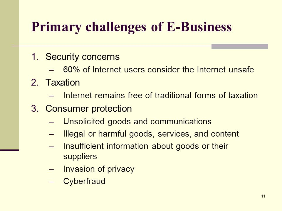 Primary challenges of E-Business