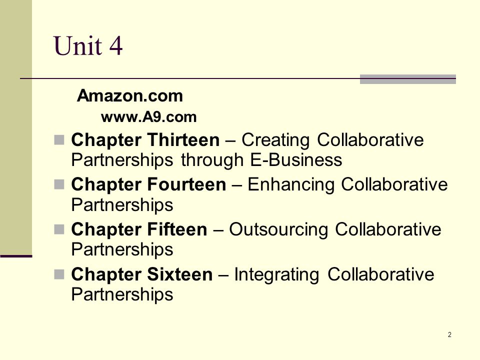 Unit 4 Amazon.com. www.A9.com. Chapter Thirteen – Creating Collaborative Partnerships through E-Business.