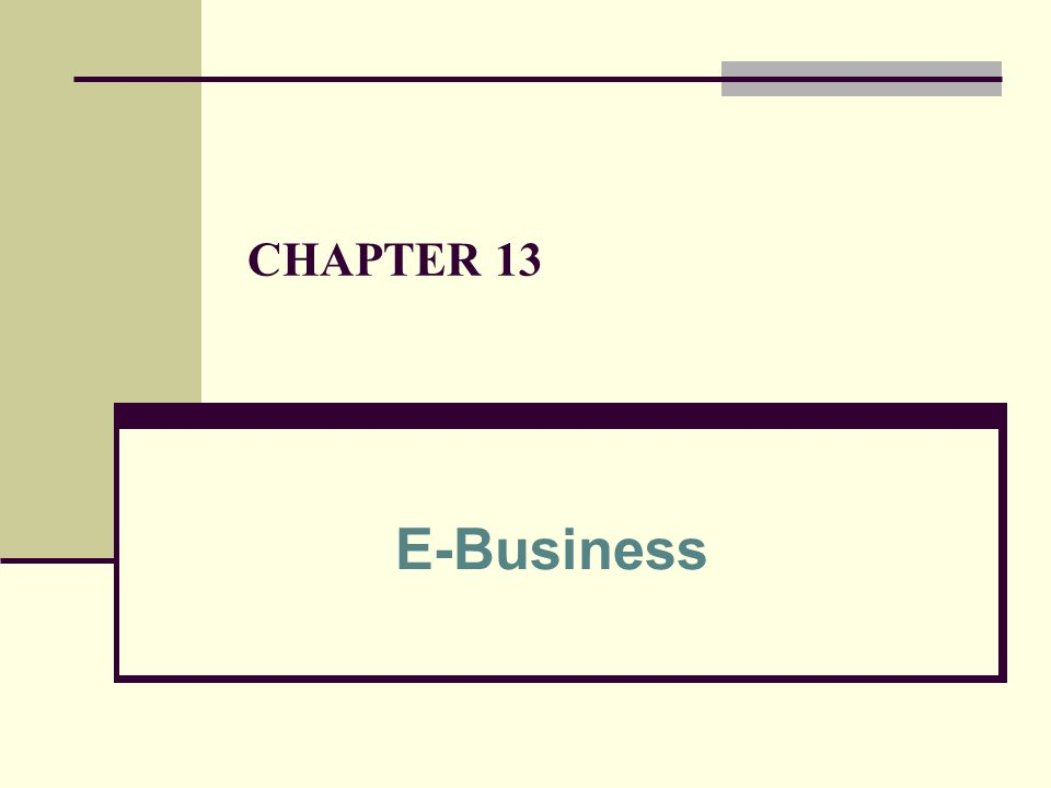 CHAPTER 13 E-Business