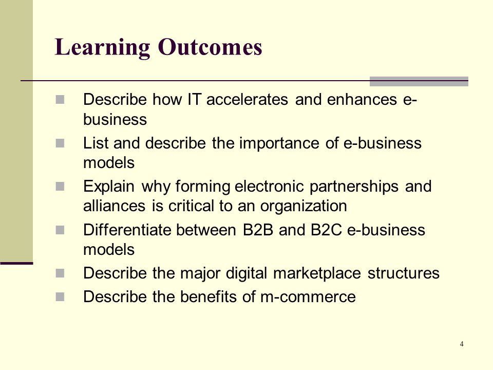 Learning Outcomes Describe how IT accelerates and enhances e-business