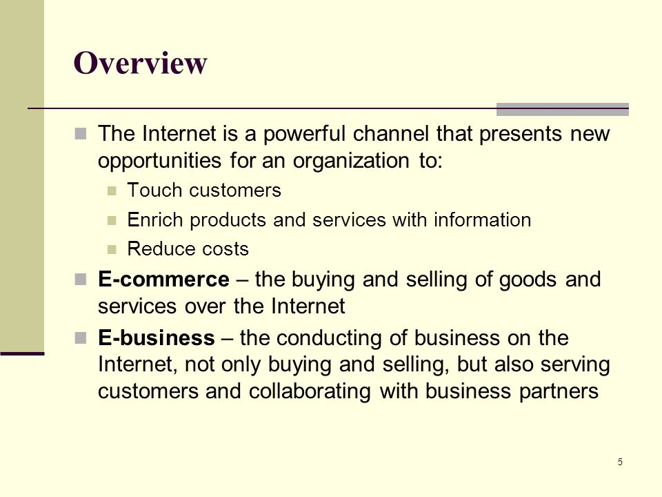 Overview The Internet is a powerful channel that presents new opportunities for an organization to: