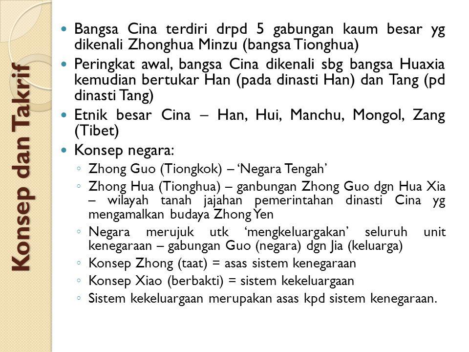 Bangsa Cina terdiri drpd 5 gabungan kaum besar yg dikenali Zhonghua Minzu (bangsa Tionghua)