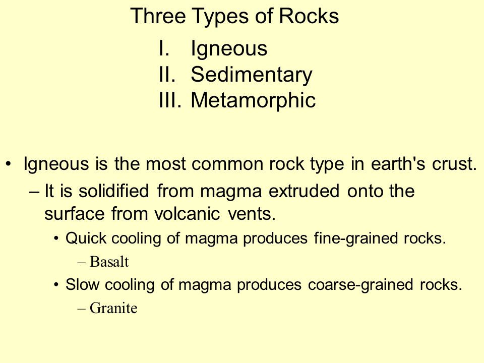 Three Types of Rocks Igneous Sedimentary Metamorphic