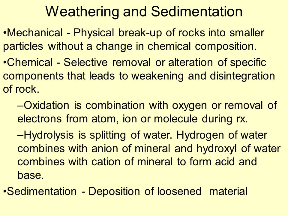 Weathering and Sedimentation