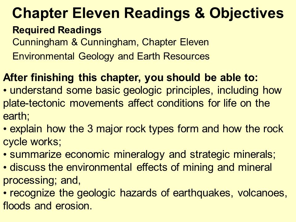 Chapter Eleven Readings & Objectives
