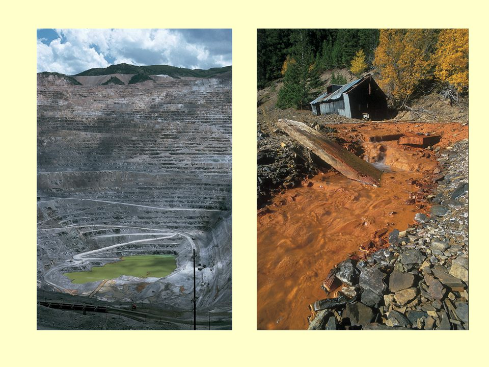 These images show some of the results of metal mining activity