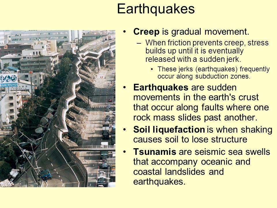 Earthquakes Creep is gradual movement.